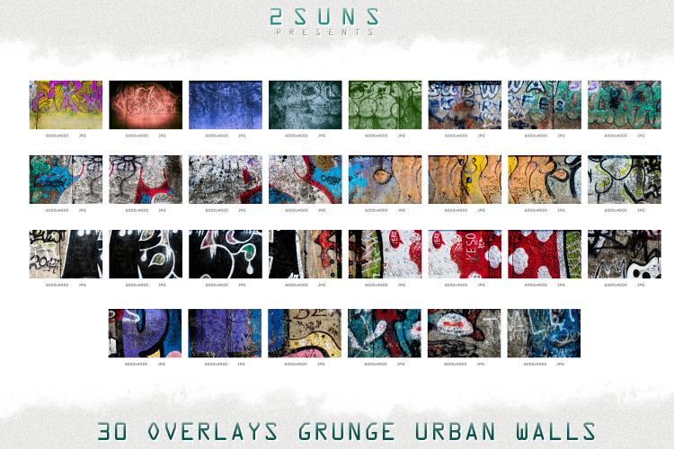 手绘墙面画涂鸦城市垃圾墙涂鸦纹理照片叠层套装 30 Urban grunge walls overlays graffity textures photo