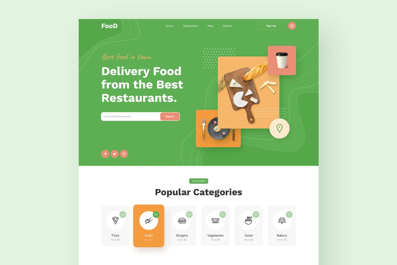 绿色食品外卖官网设计美食餐饮响应式H5网页设计模板[Sketch,fig,XD] food-delivery-restaurant-responsive-template-JB5R8RG
