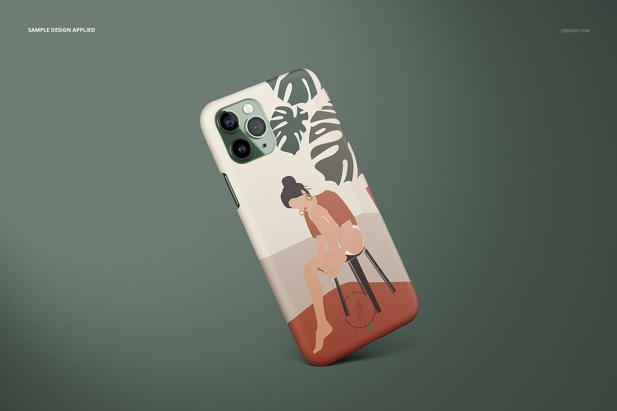 苹果手机样机iPhone 11 Pro 哑光手机保护套设计展示样机下载[PSD iPhone_11_Pro_Matte_Snap_Case_Mockup