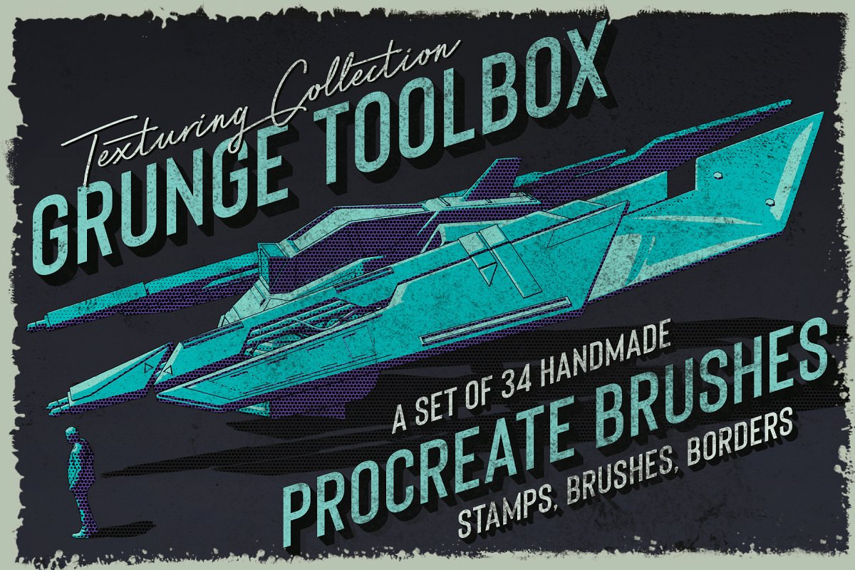 34个粗糙复古脏点纹理Procreate笔刷 Grunge Toolbox Procreate Brushes 2918393