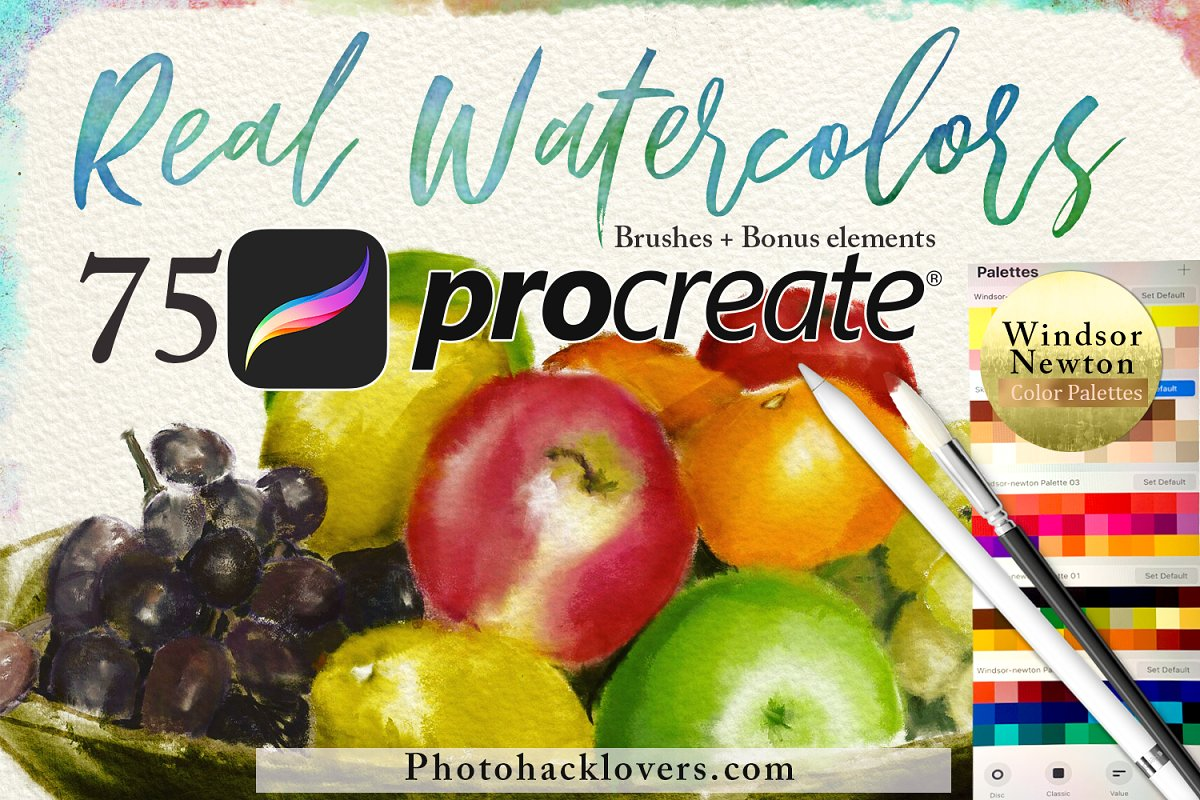 Procreate水彩绘画75个画笔笔刷套装75 Procreate Watercolor Brush Bundle 4313003