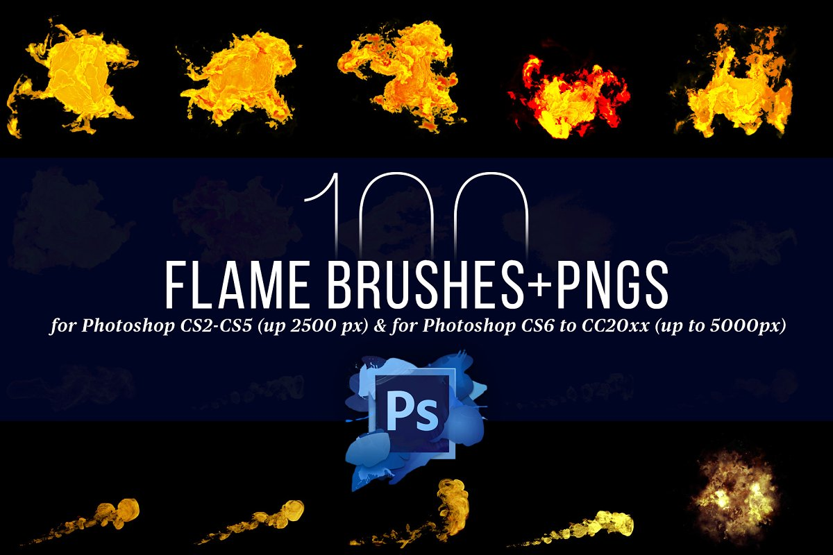 100个Photoshop火焰笔刷+PNG素材合集(ABR) 100 Photoshop Flame Brushes + PNGs 4420561