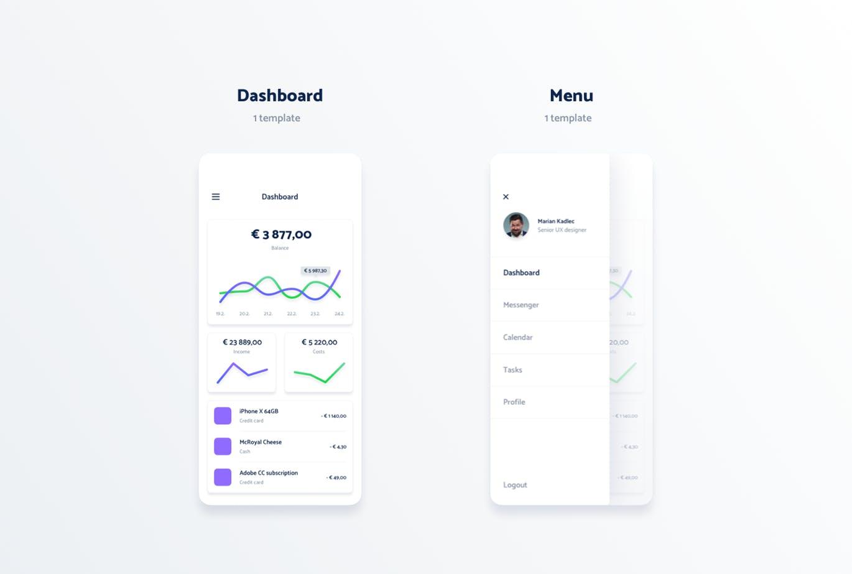 极简风格扁平化的数据化分享社交APP设计模板 UI KITS(sketch) vol-2-spojeeto-mobile-app-ui-kit