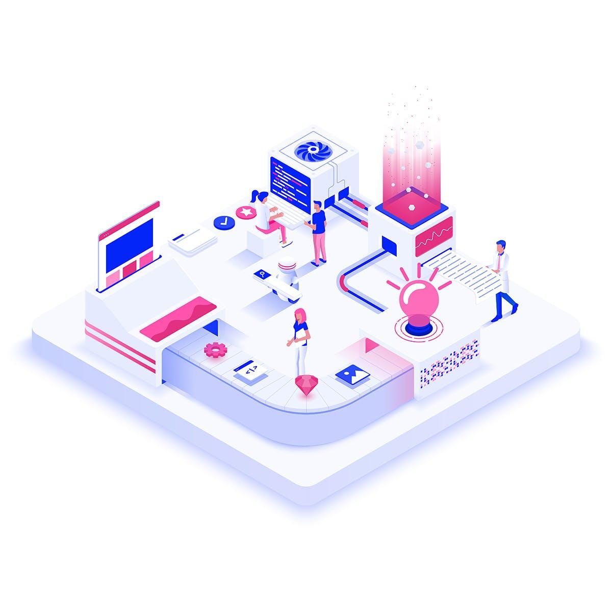 3D立体2.5D高科技5G移动通信科技卡通手绘插画banner元素大集合(AI,EPS,JPG,PDF)