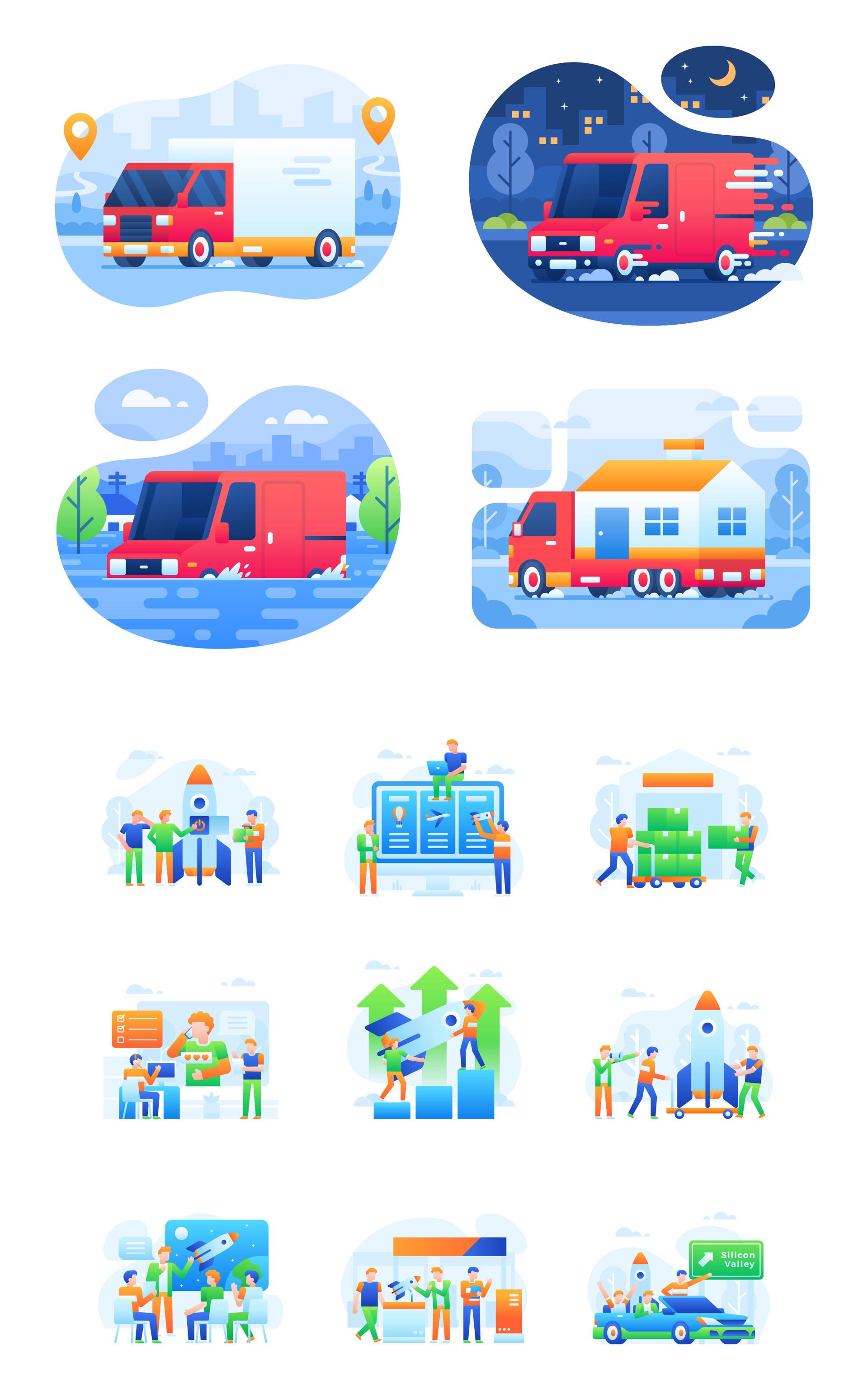 UI卡通场景矢量插画人物形象工作插画 70+场景矢量插画