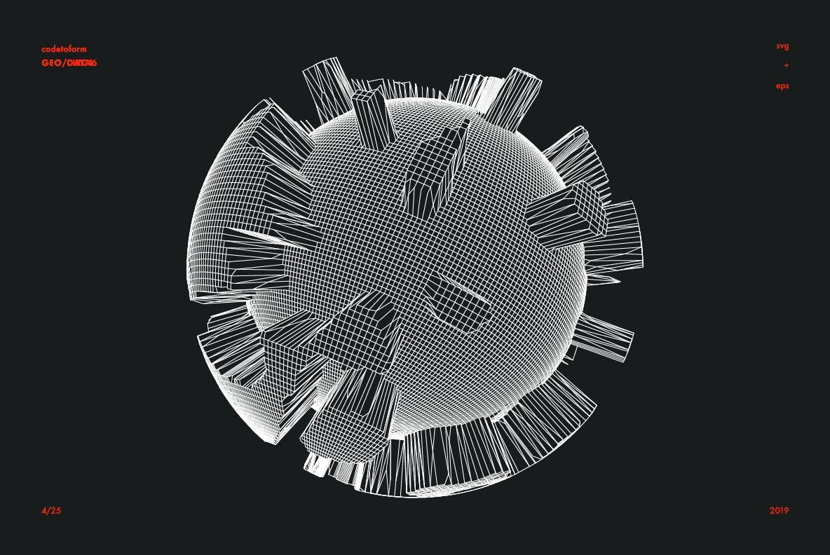 25个抽象几何图形圆形地球图形矢量插图插画大集合(eps&svg) geo-data6-vector-pack