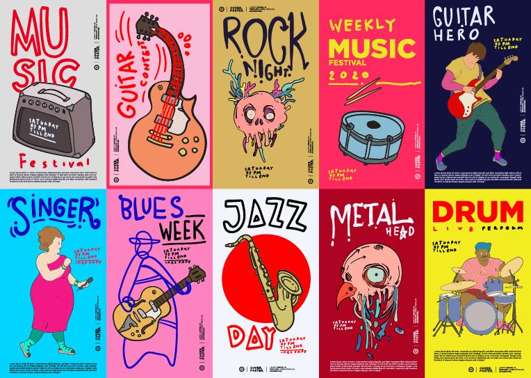 40款音乐主题元素矢量手绘插画集吉他手提琴海报设计 40 Music Illustration for Summer Event