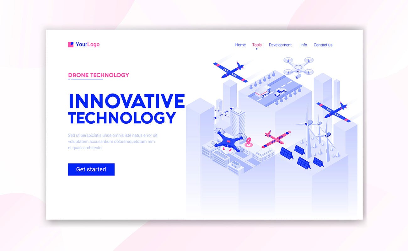 3D立体2.5D时尚高端5G通信高科技元素着陆页海报banner插画设计模板集合(AI,EPS,JPG,PDF) landing-page-template-on-various-topics