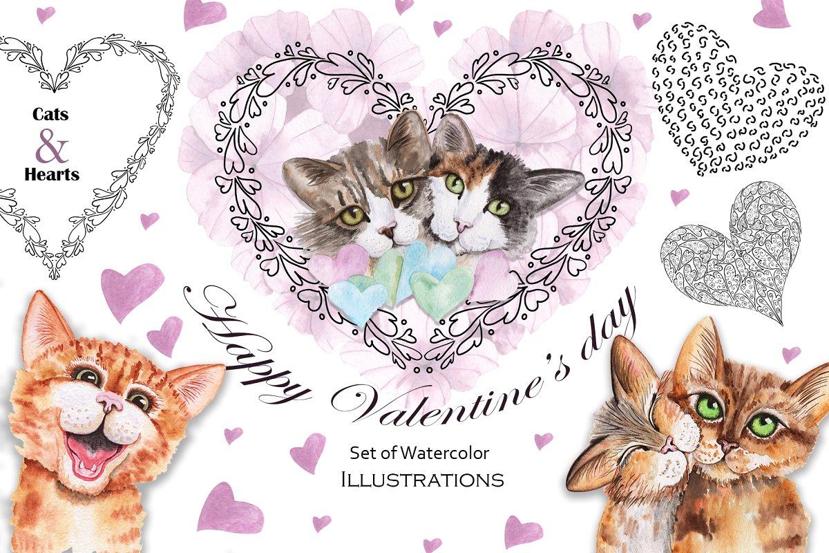 浪漫情人节七夕情人节图案背景猫咪水彩插画素材集VALENTINE'S DAY WATERCOLOR CATS