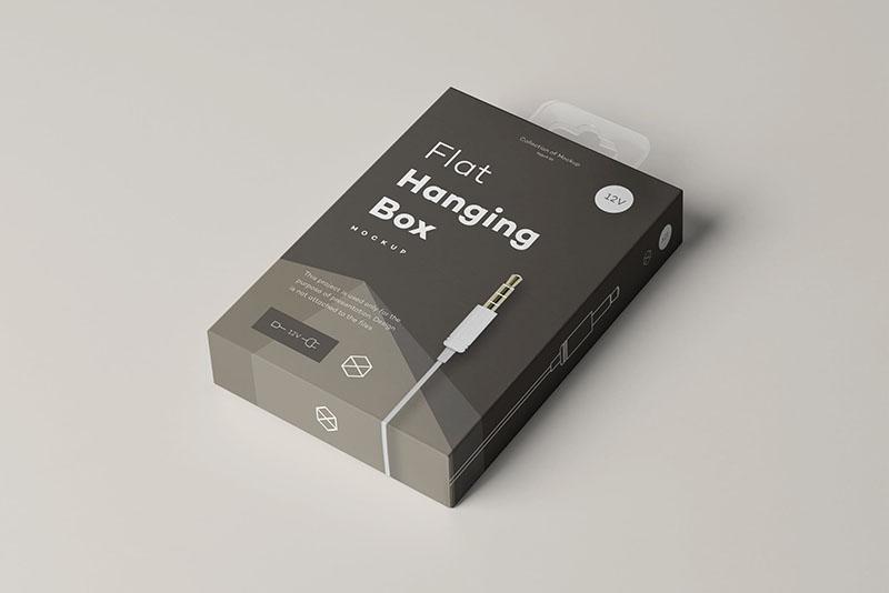 数据线包装盒样机mockups悬挂式包装盒外观设计预览模板  BZyjhz_2020