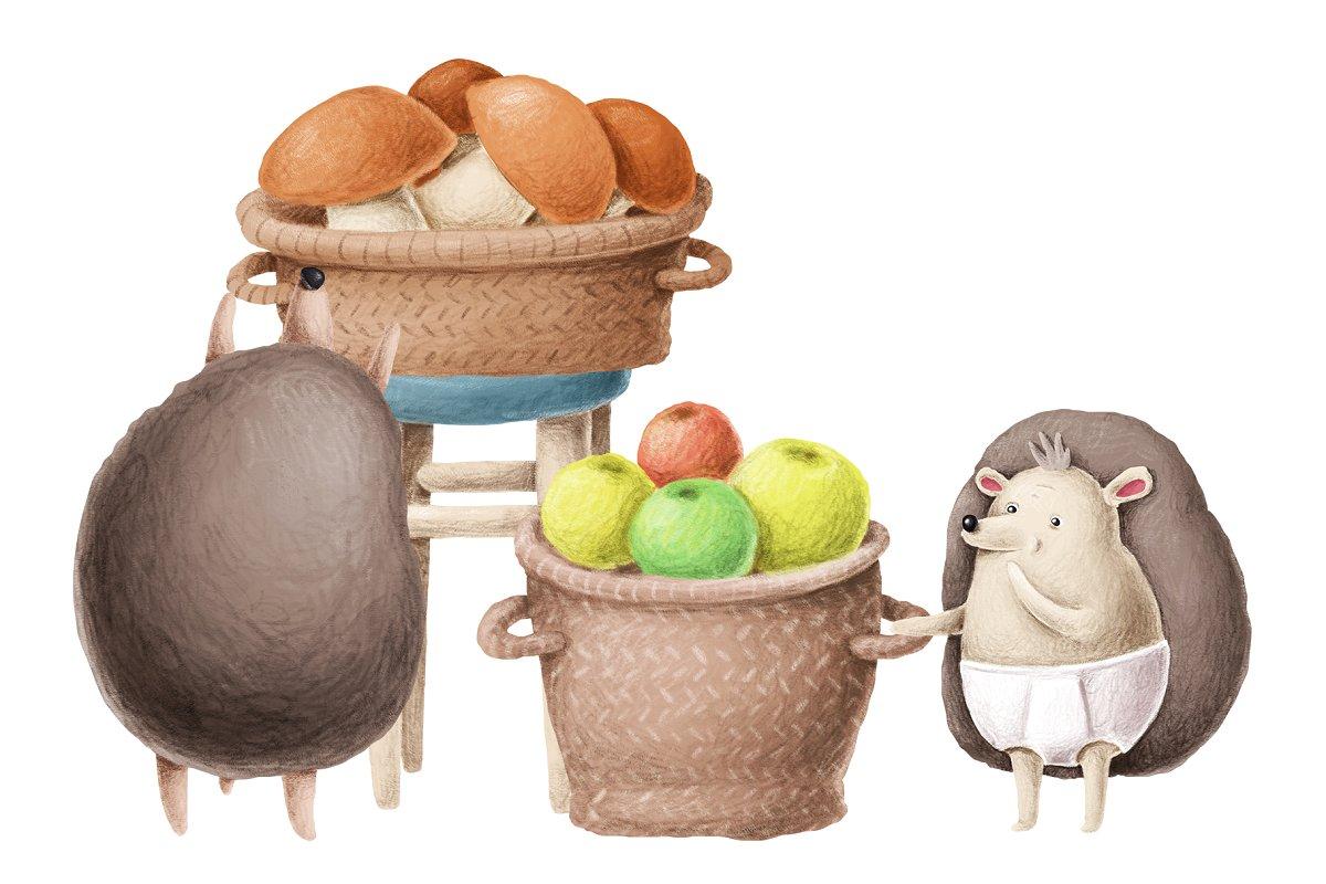 手绘卡通刺猬家庭场景插画套装HEDGEHOG FAMILY SCENE CREATION KIT