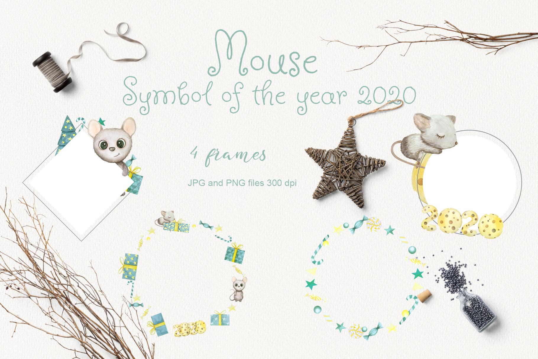 2020手绘鼠年卡通老鼠图案图标水彩插画素材合集节日背景Mouse. New Year 2020. Watercolor set