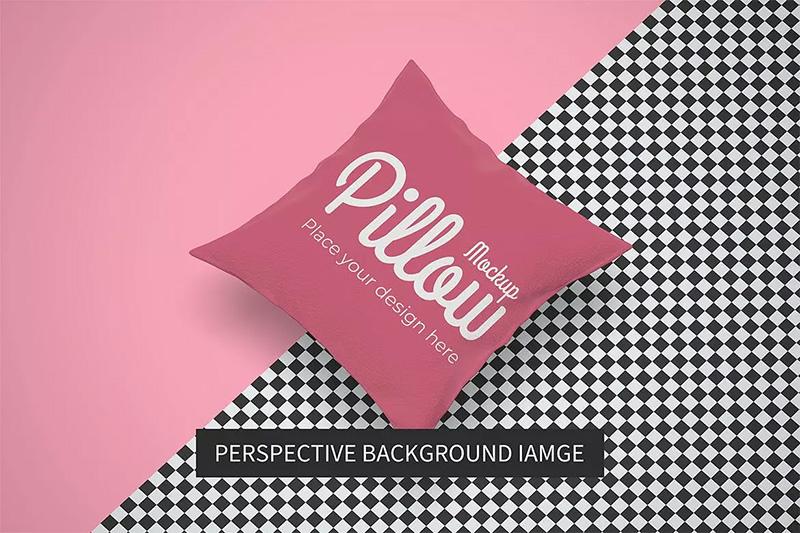 方形枕头品牌标签设计样机午睡枕头模板 Designshidai_com_yj_baozhen01