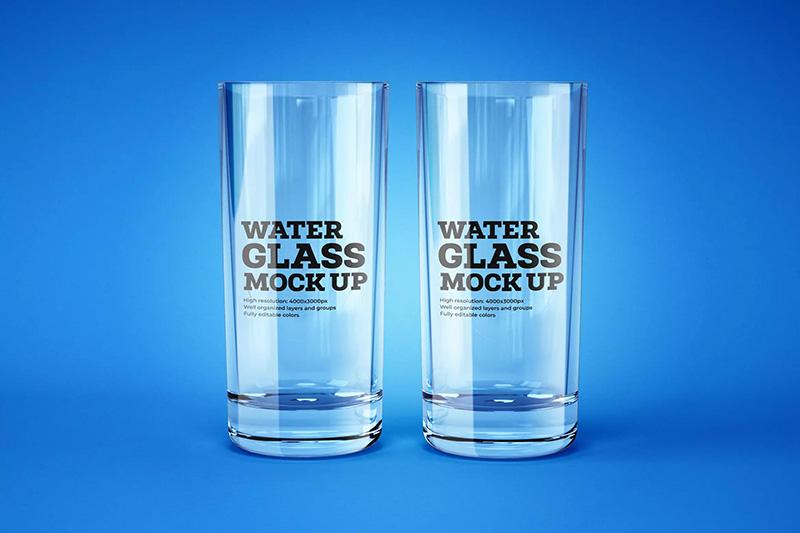 透明玻璃水杯标签设计前视图样机模板 Water and Cocktail Glass Mockup  BZyjbz_200917027
