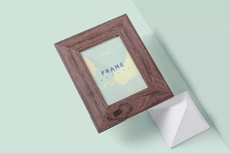 复古木纹画框相框样机模板designshidai_yj82