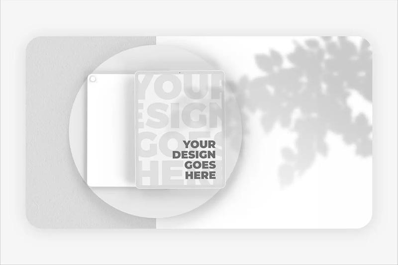 白色粘土风格iPad Pro高级样机模板designshidai_yj117