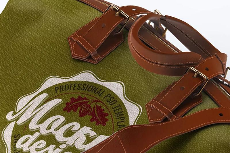 逼真的旅行包/旅行袋Logo设计展示样机模designshidai_008