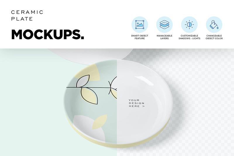 圆形陶瓷碟子/盘子图案设计样机模板designshidai_yj83