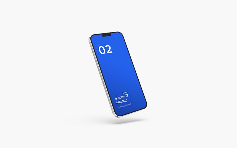 悬浮效果iPhone 12苹果概念机UI设计展示样机designshidai_yj21