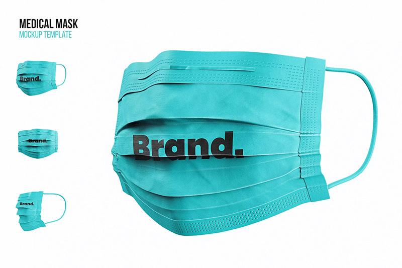 人佩戴使用医用口罩设计效果图展示样机模板 designshidai_yj_kz001