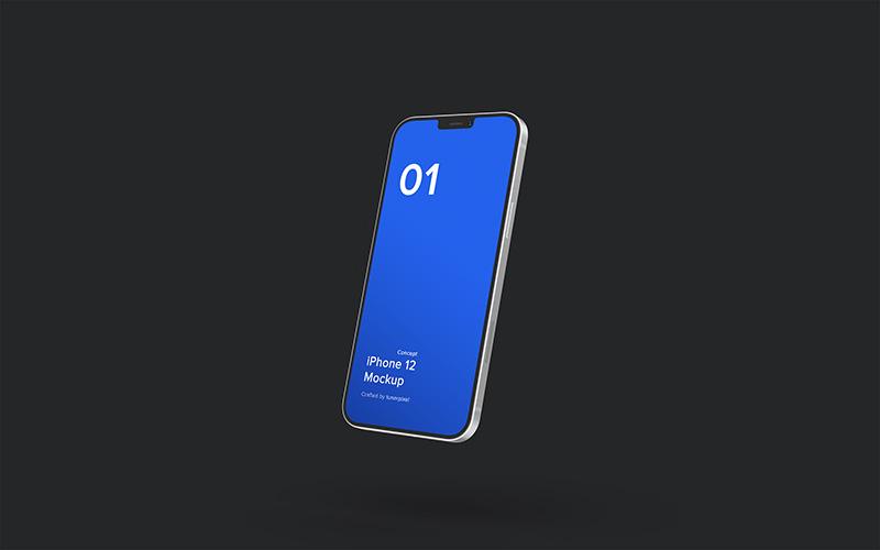 UI展示样机悬浮效果iPhone 12苹果概念机UI设计展示样机mockups designshidai_phone001