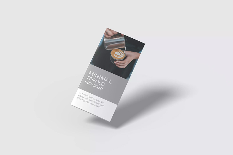 极简主义风格三折页宣传册设计样机模板v4 Minimal Trifold Mockup V4 designshidai_yj92
