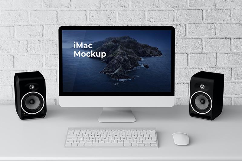iMac一体机电脑屏幕网页设计展示样机模板designshidai_yj107