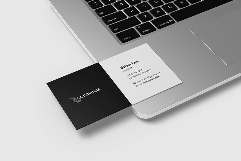 极简设计风格企业名片设计效果图样机模板designshidai_yj109