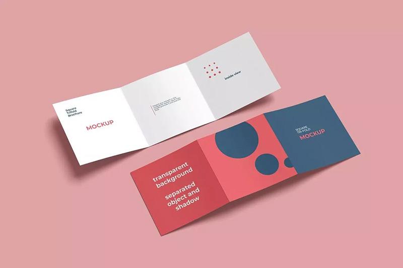 方形三折页小册子企业画册杂志设计样机designshidai_yj132