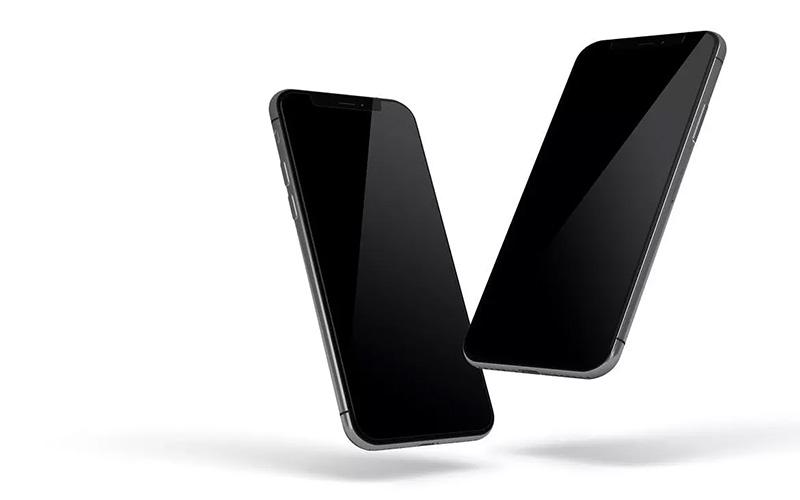 悬在空中的iPhone X实体手机屏幕样机designshidai_yj136