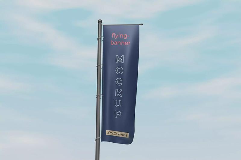 悬浮式逼真实体广告旗帜样机模板designshidai_yj160