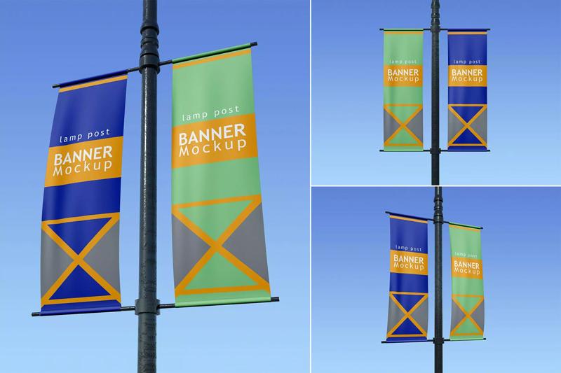 路灯杆广告旗帜/横幅设计样机模板designshidai_yj167