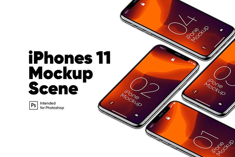 等距网格iPhone 11手机多设备屏幕预览样机模板designshidai_yj168