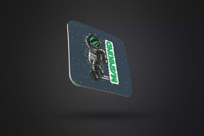 透视风格方形杯垫标签设计样机模板designshidai_yj177