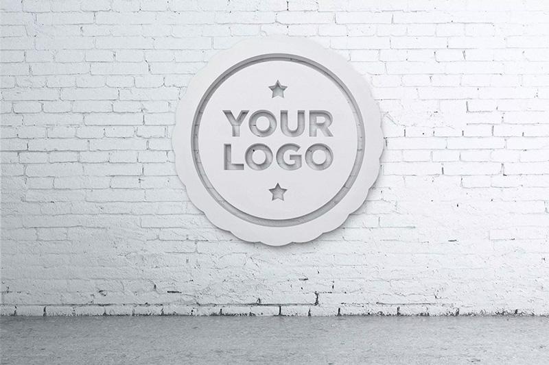 逼真的办公室Logo背景墙设计图样机designshidai_yj185