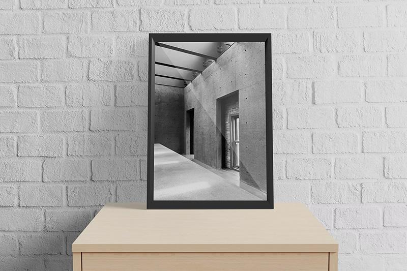 室内实木柜场景A3规格画框相框样机designshidai_yj198