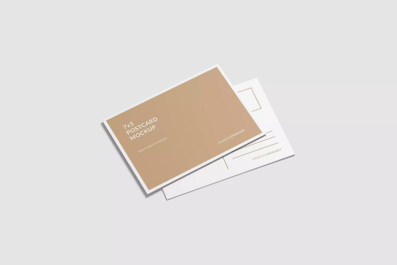 明信片正反面叠放效果图样机designshidai_yj202