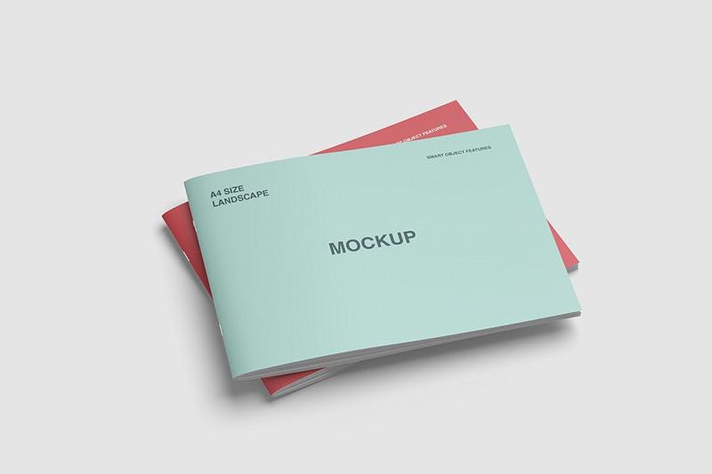 A4横版规格产品手册封面设计叠放效果图样机designshidai_yj27