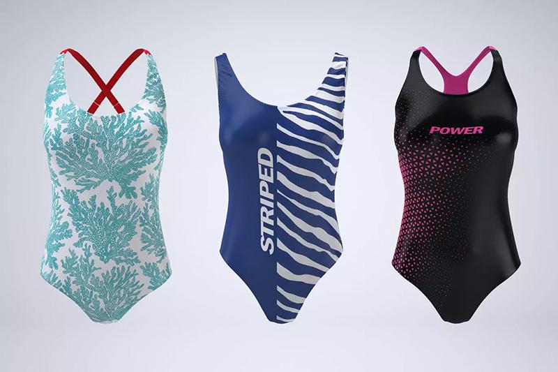 女款紧身连体泳衣面料图案设计样机模板designshidai_yj30