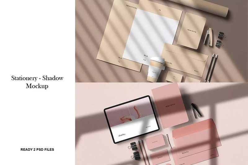企业品牌VIS应用样机展示视觉设计阴影效果图样机 designshidai_yj_vi001