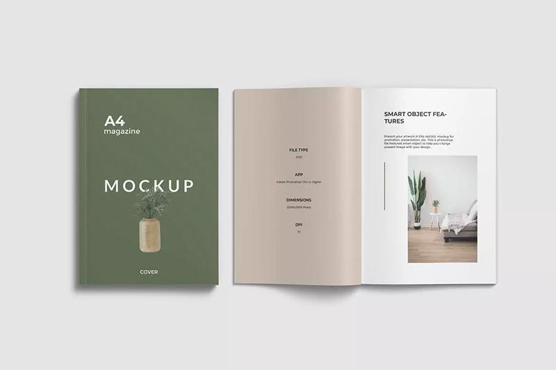打开和闭合状态A4杂志展示设计顶视图样机模板designshidai_yj33