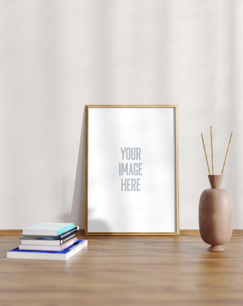 书桌场景A4尺寸画框相框样机模板designshidai_yj40
