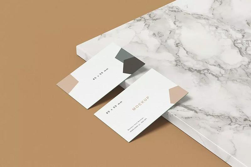 优雅风格企业名片双面设计效果图样机designshidai_yj44