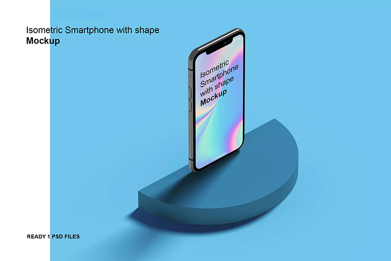 站立款移动手机屏幕设计预览样机Isometric Phone with shape Mockup