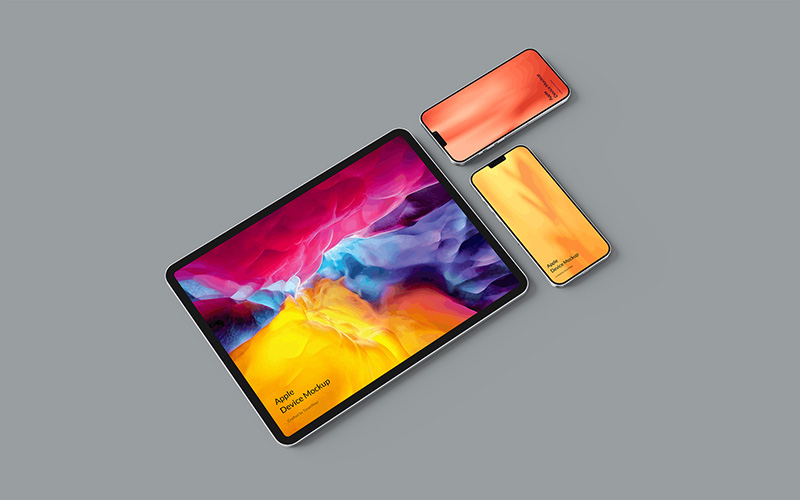 高质量5k超级分辨率iPad Pro&iPhone12概念机屏幕展示样机模板designshidai_yj6