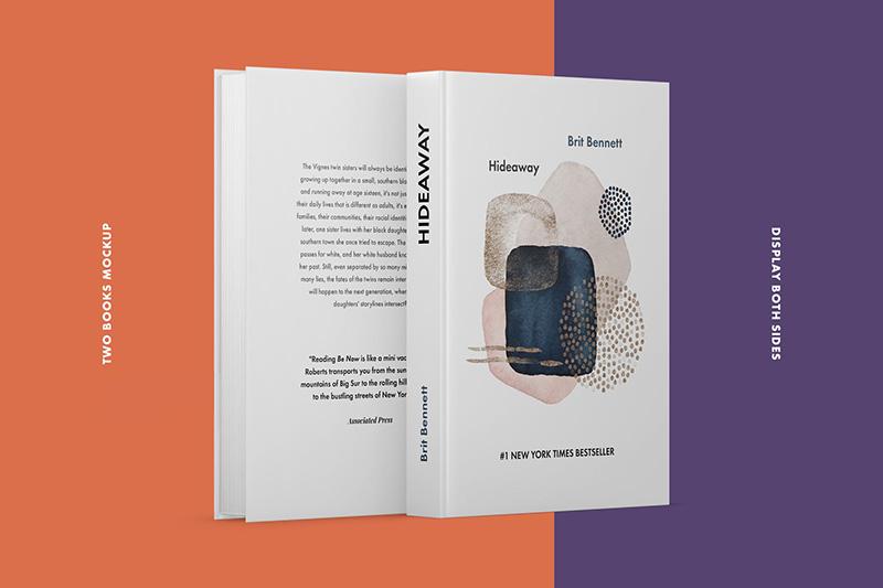 两本精装图书正背面封面设计效果图样机designshidai_yj75
