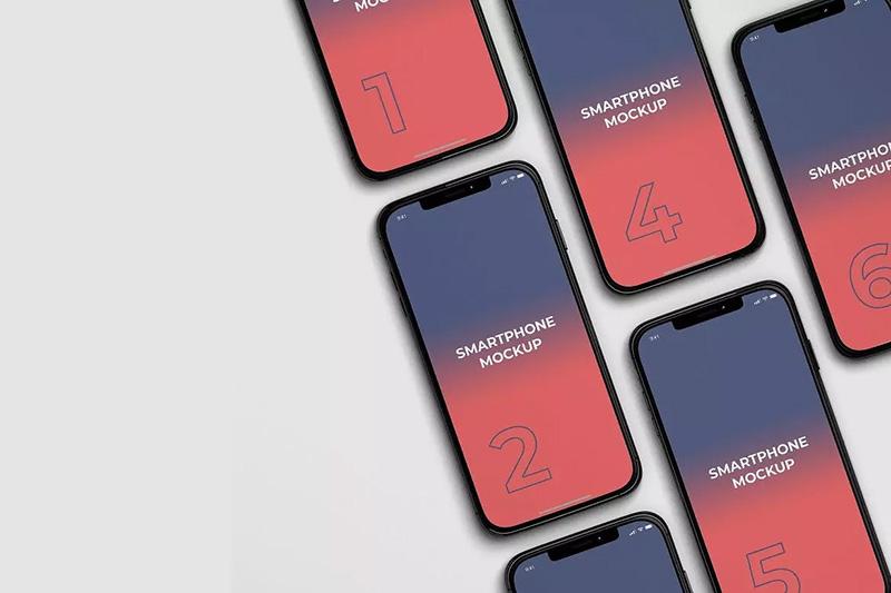 iPhone X屏幕UI界面设计演示等距视图样机模板 Phone X Mockups designshidai_yj77
