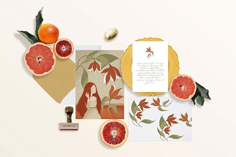 柑橘装饰元素邀请函设计样机模板designshidai_007