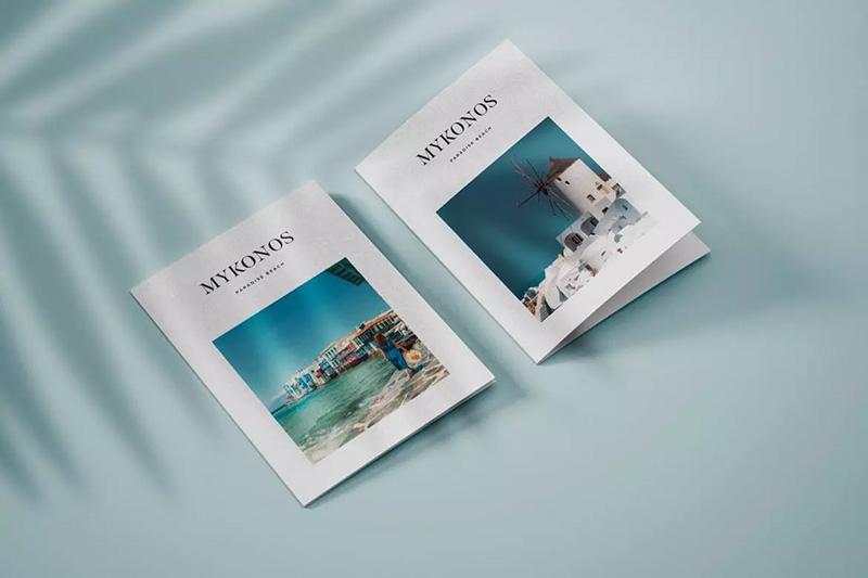 纵向规格双折页小册子封面设计样机模板designshidai_yj138