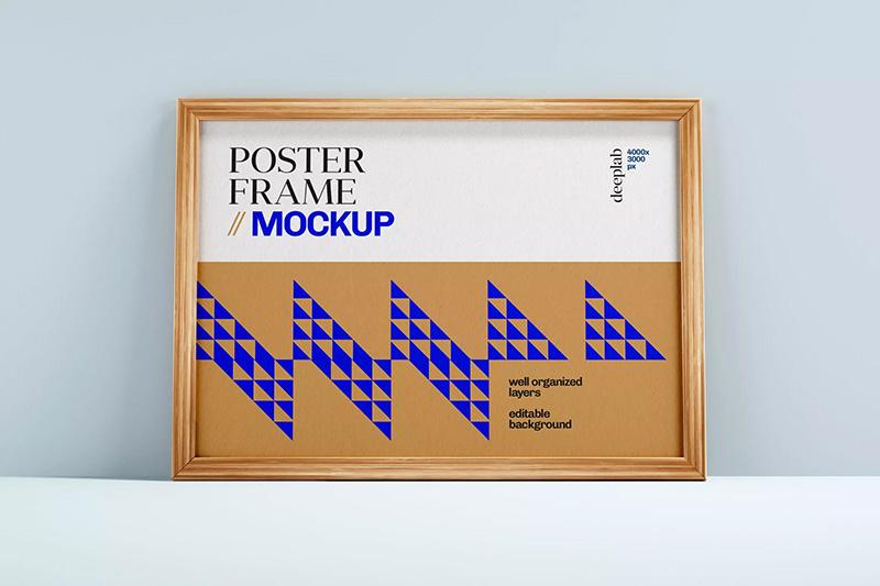 实木海报画框样机模板designshidai_yj150